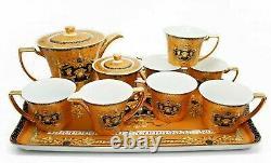 10 Piece Euro Porcelain Medusa Fine Bone China Tea Set Premium Full Service