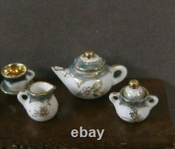 11 PIECE PORCELAIN TEA SET Dollhouse England 112 scale Marked Artisan