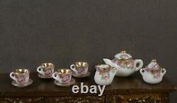 11 PIECE PORCELAIN TEA SET Dollhouse England 112 scale Marked Artist