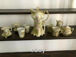 11-piece Antique Nippon Porcelain Chocolate Tea Set Painted Floral Pink