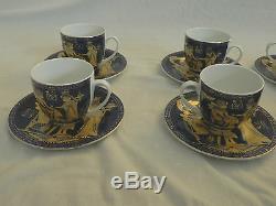12 Piece Egyptian Pharaoh Porcelain Mug Coffee Tea Set King Tut Gold Blue 3