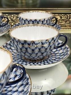 14 Pieces Russian Imperial Porcelain Tea Service Set For Five cobalt net, tulip