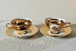 15 PC Set ST Bavaria Germany 22K Gold Gilded Tea Set Creamer Sugar Saucers Cups