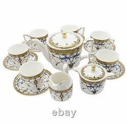 15 Piece British Porcelain Tea Set, Blue Vintage Pattern