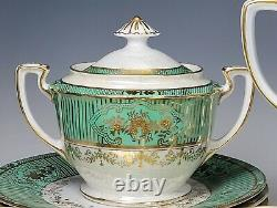 15 pcs Antique Noritake Porcelain Gold Encrusted Green Luster Tea Set Red Mark