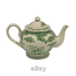 16 Gondola Green Transferware Porcelain Tea Set with Tray Antique Reproduction