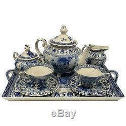 16 Liberty Blue Transferware Porcelain Tea Set with Tray Antique Reproduction