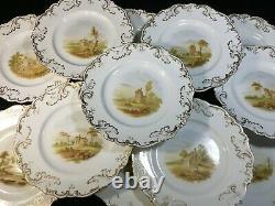 (17) Old Paris Porcelain  Scenic BRUNCH/DESSERT SET (Tazzas/Compote/Plates)