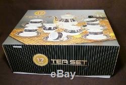 17 pc. THUN KARLOVARSK Cobalt Blue Gold Accent Trim Fine Porcelain China Tea Set