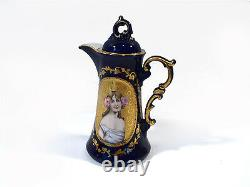1880/90 Miniature toy hand painted porcelain Sevres style coffee/tea set