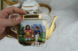 1880 Antique French paris porcelain tea coffee set hand paint