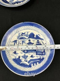 18/19th C Chinese Export Porcelain Blue & White Tea Cup & Saucer (set of 2)