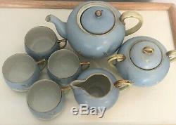 1920's Antique Hand Painted Nippon Japan Blue Porcelain White Crane Tea Set