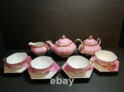 1920's Rare Pink Lucky Cranes Hand Painted Porcelain Tea Set Japan 13pc Tn Deco