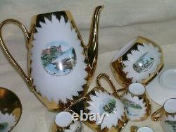 19-Piece Bavaria Porcelain Gold Gilded Tea Set Demitasse