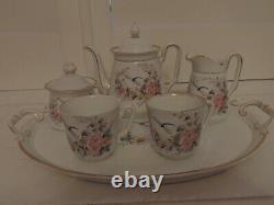 19th C Antique German Porcelain Tea Set Breakfast Bachelor Teapot Dragonfly