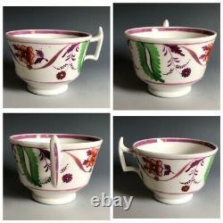 19th C Georgian Staffordshire Pearlware Pink Lustreware Tea Set Service 20pcs