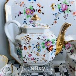 19th Century Vieux Paris Old Paris Porcelain Hand enameled floral tea set forTwo
