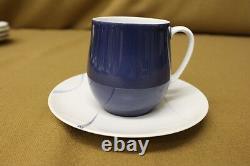 22 Pc. Mid-Century THOMAS GERMANY Porcelain Demitasse Tea Set, Navy & Light Blue