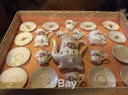 23 PC Antique German Victorian Children's Porcelain Tea Set in Original Box