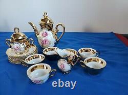 24 Karat Gold Tea Set Porcelain Bavaria, server 6 peoples