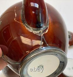 3 Piece Lenox Porcelain Sterling Silver Overlay Tea Serving Set