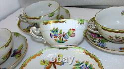4 Sets Herend Porcelain Queen Victoria Lg Breakfast Tea Cups & Saucers 702/vbo