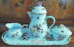 6 Piece Herend Handpainted Porcelain Tea Set With Sandwich Tray Birds