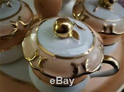 8 pot de crème cups & 2-tier dessert stand, Vieux Old Paris Porcelain, c1850 13