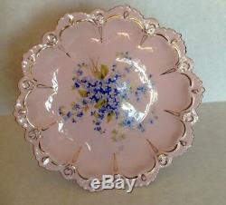 9PCS NEW Vintage H&C Czechoslovakia Hand Painted Rosa Pink Tea Cups Tea set 24K