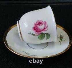 ANTIQUE MEISSEN PORCELAIN PINK ROSE DEMITASSE COFFEE TEA SET 15 Pc