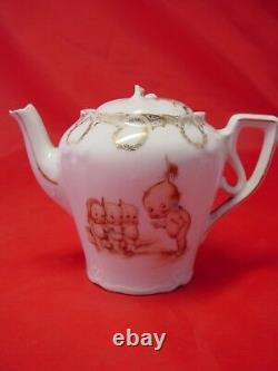 ANTIQUE ROSE O'NEILL KEWPIE PORCELAIN TEA SET, Teapot and 5 Cups, VERY GOOD COND