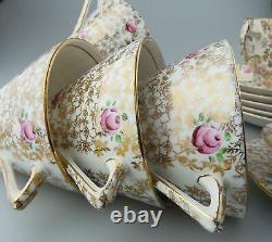 A pretty Art Deco antique English porcelain floral Tea Set 18 pieces C. 1930