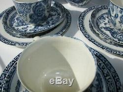 Allertons England Punch and Judy Child's Tea Set Blue- 21 pcs Antique 1890s