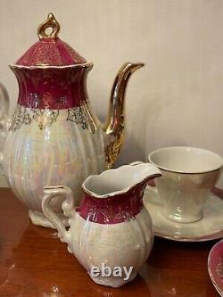 Antique 15PC Porcelain Lusterware Tea Set Victorian Couple Design Stamped Japan