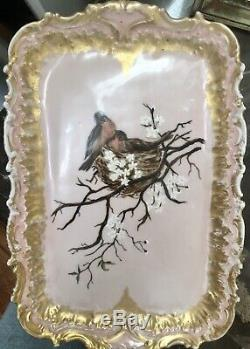 Antique 1892 Pink LIMOGES Porcelain Sugar creamer tea Tray Set Bluebirds Robin