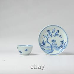 Antique 18C Chinese Porcelain Bird Flower Tea Bowl Set China marked