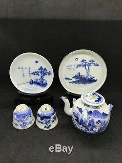 Antique 19th Century Chinese Porcelain Bleu de Hue Tea set, saucer, teapot, cups