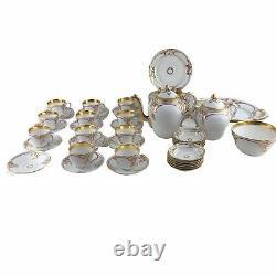 Antique 19th Century Haviland France White Gold Porcelain Tea Set Service