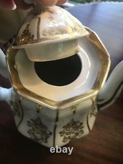 Antique 19th c Old Paris Porcelain 4 Pc. Tea Set Service White With Gold