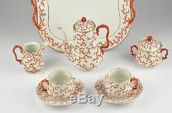 Antique 19th century Berlin KPM Porcelain tea set tête-à-tête, coral decor