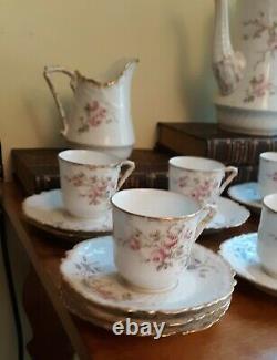 Antique 22 Pc. Limoge France Painted Porcelain Tea Set