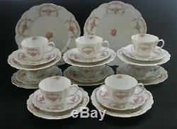 Antique BRIDAL ROSE PORCELAIN TEA SET For 8 Trios Cake Plates MZ Austria c1800s