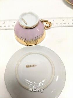 Antique Bavaria Chocolate Tea Set Pink & Gold Teapot Tea Cups Rare & Stunning