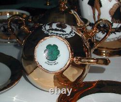Antique Bavaria Germany 22K Gold Handarbeit Demitasse Tea Coffee Set 17 Pcs