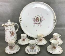 Antique CARLSBAD Empress Josephine Gilt Porcelain Chocolate Tea Set 13 pcs +TRAY