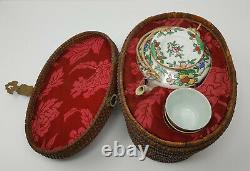 Antique Chinese Rose Medallion Porcelain Picnic Tea Set Padded Wicker Basket