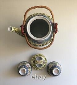 Antique Chinese Rose Medallion Porcelain Picnic Tea Set Padded Wicker Basket New