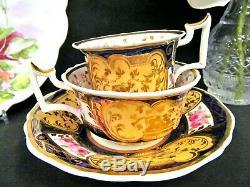 Antique English Porcelain Yates C1825 tea cup and saucer painted rose teacup set