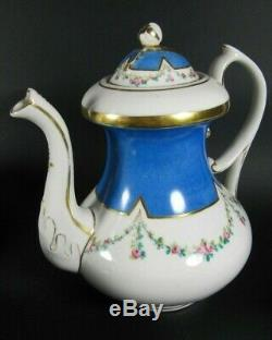 Antique French Old Paris Porcelain Tea Pot Set Hand Painted Sevres Style c1850